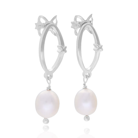 Pink pearl earings with sterling silver link