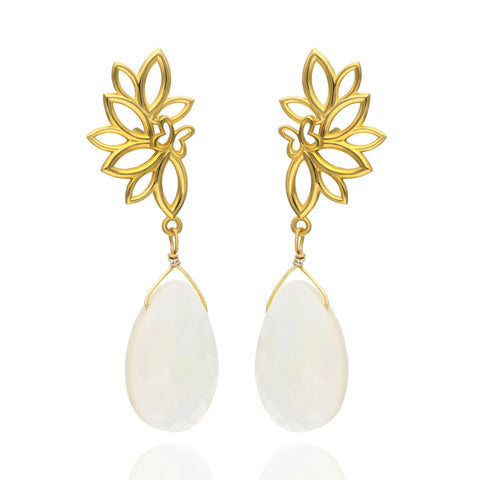 Paradise Sterling Silver with Gold Plated Earrings with Mother of Pearls