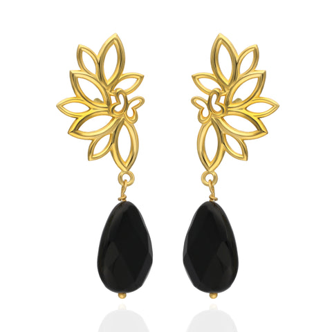 Paradise Sterling Silver with Gold Plated Earrings with Onyx