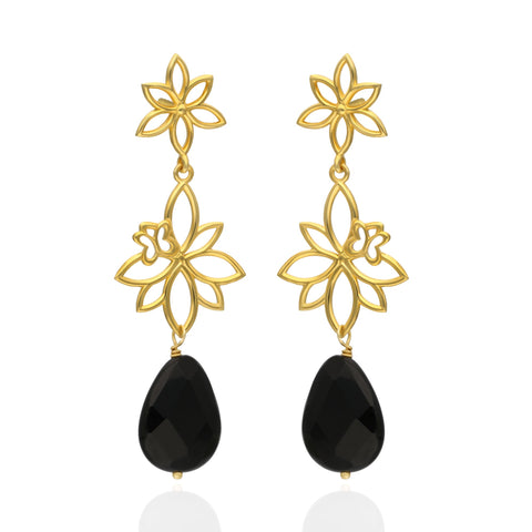 Paradise Sterling Silver with Gold Plated Two Modules Earrings with Onyx