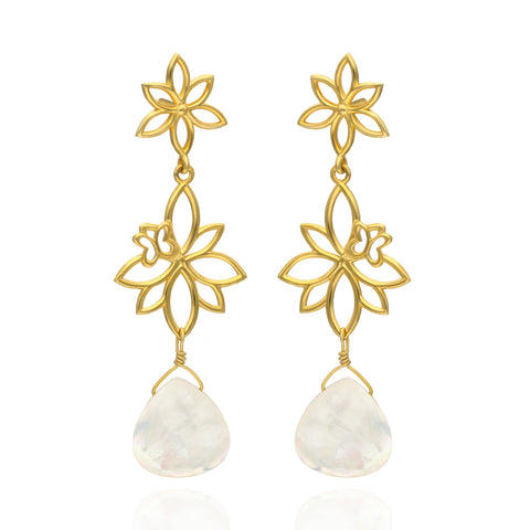 Paradise Sterling Silver with Gold Plated Two Modules Earrings with Mother of Pearls