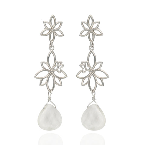 Paradise Sterling Silver Two Modules Earrings with Mother of Pearls
