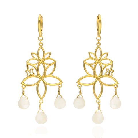 Paradise Sterling Silver with Gold Plated Earrings with 3 Mother of Pearls
