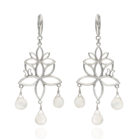 Paradise Sterling Silver Earrings with 3 Mother of Pearls