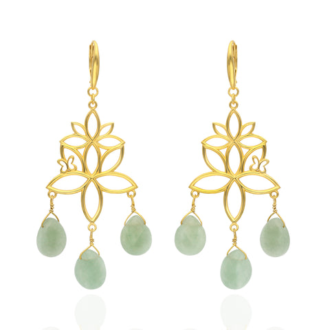 Paradise Sterling Silver with Gold Plated Earrings with 3 Aventurine