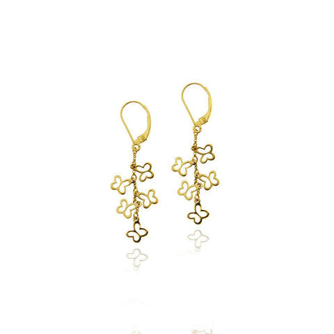 14k Gold Flying Butterflies Earrings