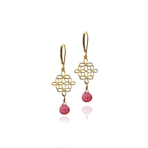 14k Gold Flowers Earrings with Semiprecious Stone