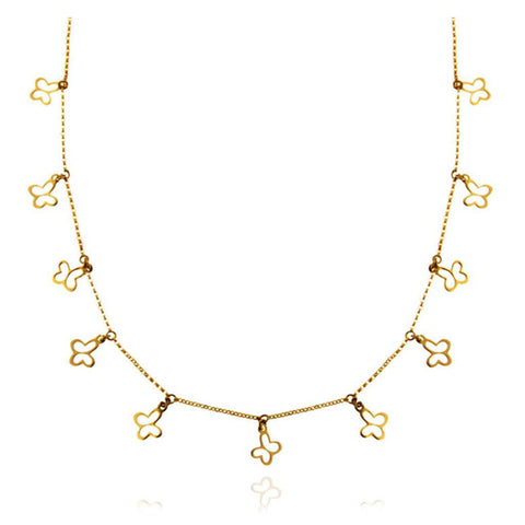 14k Gold Chain with Butterflies Necklace