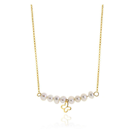 14k Gold Butterfly Necklace with Pearls