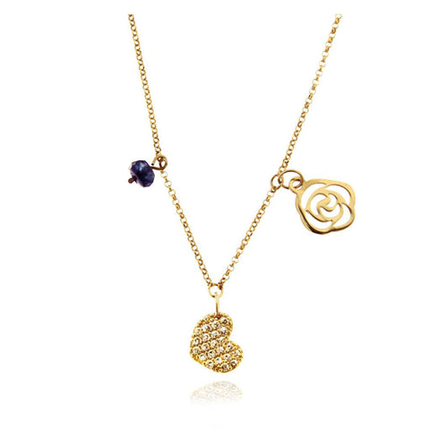 14k Gold Pave Heart Necklace; 14k Gold Flower with  Semiprecious Stone