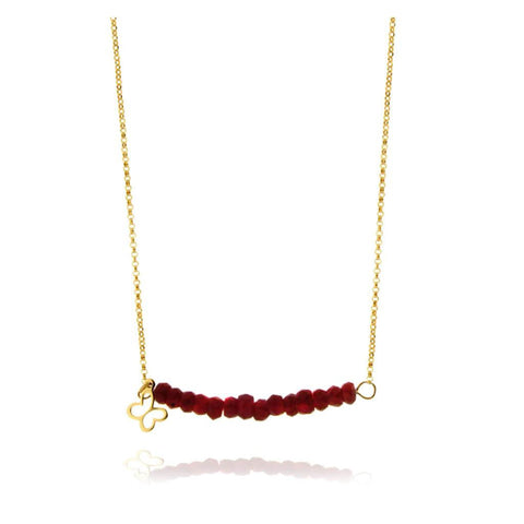 Garnet Necklace with 14k Gold Butterfly