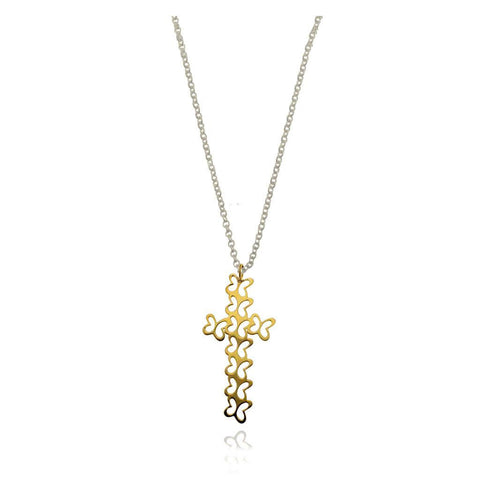 14k Gold Cross with Butterflies Pendant with Silver Chain