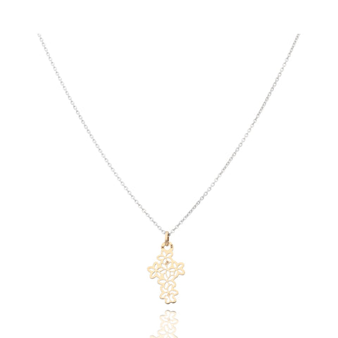 Motives Flower Cross Pendant in Gold 14k