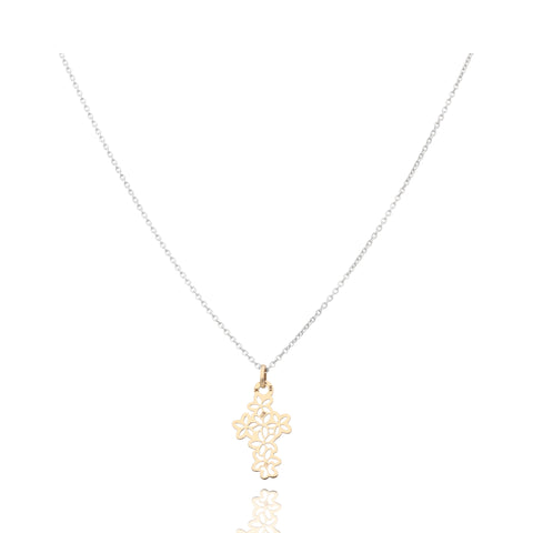 Motives Flower Cruss Pendant in Gold 14k