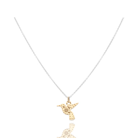 14k Gold Hummingbird Mexicanized Pendant