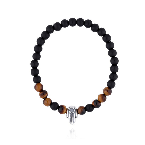 Bracelet Sterling Silver Hand of Fatima with Stone Onyx Mate / Tiger Eye