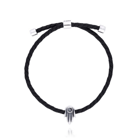 Bracelet with Sterling Silver Hand  of Fatima with Black Rubber