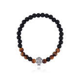 Bracelet With Sterling Silver Skull with Onyx Stone / Tiger Eye