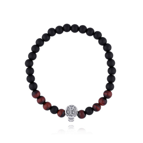 Sterling Silver Skull Bracelet with Onyx Stone / Red Tiger Eye