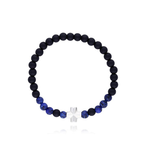Bracelet with Sterling Silver Cross with Onyx Stone / Sodalite