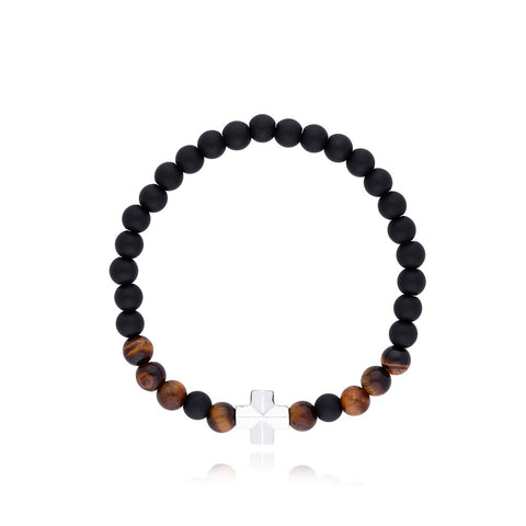 Bracelet with Sterling Silver Hand of Fatima with Stone Onyx Mate / Tiger Eye