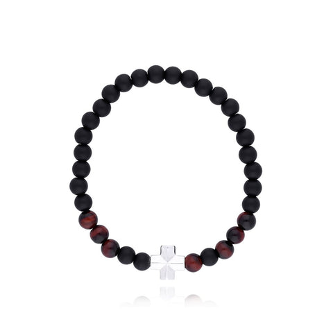 Bracelet With Sterling Silver Cross with Stone Onyx Mate / Red Tiger Eye