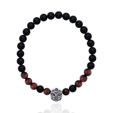 Sterling Silver and Red Tiger's Eye Mexican Wrestler Bracelet