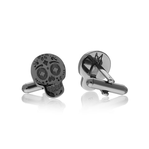 Black Rhodium Moss Skull Cufflinks
