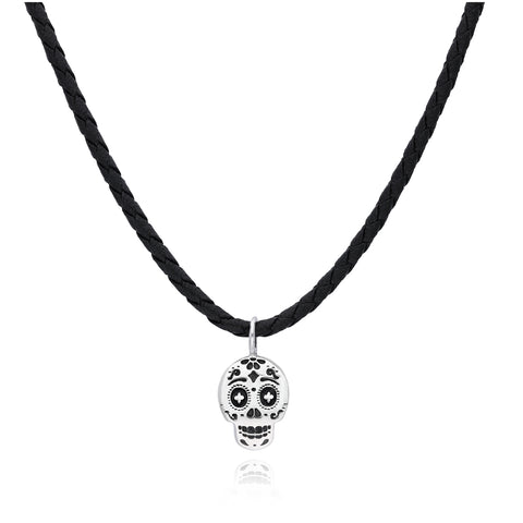 Moss Silver Skull Pendant with Rubber