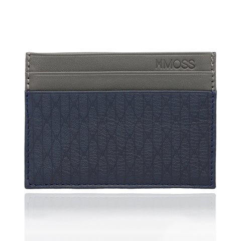 Leather Moss Cardholder (gray/blue)