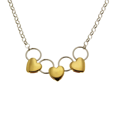 Three Hearts Necklace With Two-Color Hoops