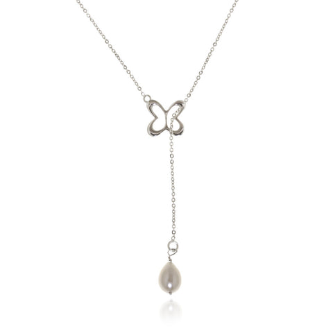 Sterling Silver Butterfly Necklace with Pearl