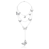 Sterling Silver Anniversary Layer Necklace with Zirconia