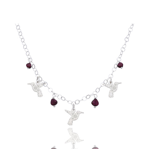 Sterling Silver Mexicanized Hummingbird with Garnet Necklace