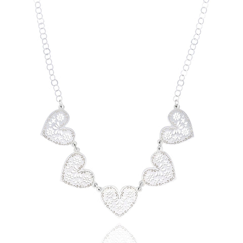 Sterling Silver 5 Mexicanized Heart Necklace