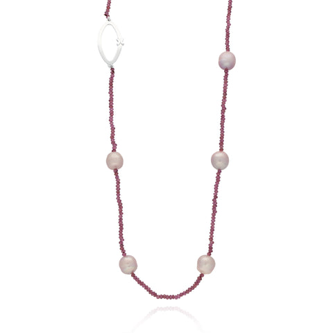 Pink Pearls Long Garnet Necklace with Sterling Silver Link