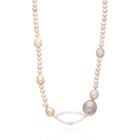 Pink Pearls Short Necklace with Sterling Silver Link