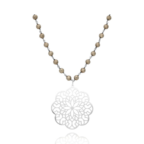 Sterling Silver and Pyrite chain Zen Necklace