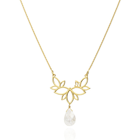 Paradise Sterling Silver Gold Plated Necklace With Mother Of Pearls