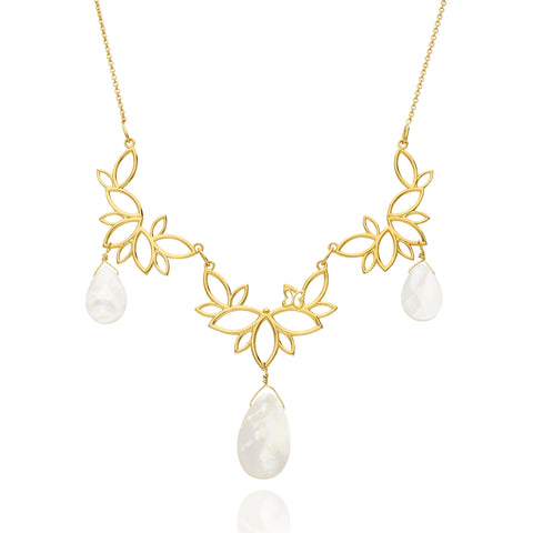 Paradise Sterling Silver Gold Plated Three Modules Necklace With Mother Of Pearls