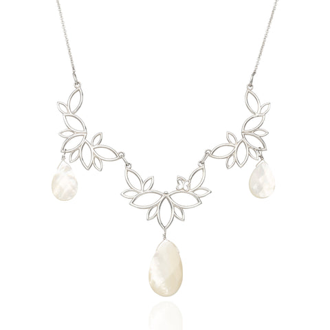 Paradise Sterling Silver Three Modules Necklace With Mother Of Pearls