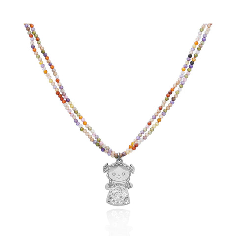 Maria Zircon Double Necklace With Sterling Silver Pendant