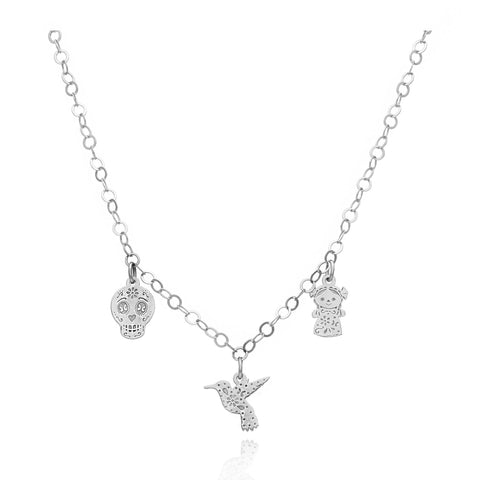 Maria Sterling Silver Necklace With Charms