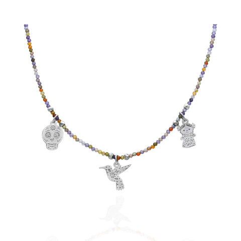 Maria Zircon Necklace With Doll, Hummingbird And Skull Charms