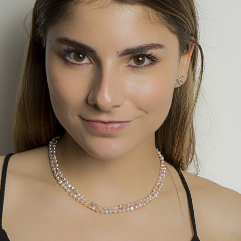 Double Pink Pearl Short Necklace - N2233