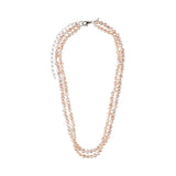 Double Pink Pearl Long Necklace - N2235