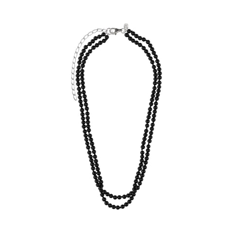 Double Black Agate Short Necklace - N2237
