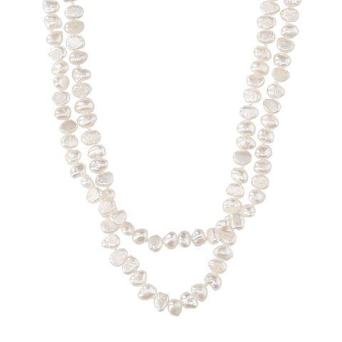 Double White Pearl Short Necklace - N2242