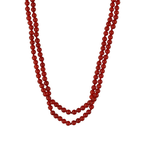 Double Red Agate Short Necklace - N2243