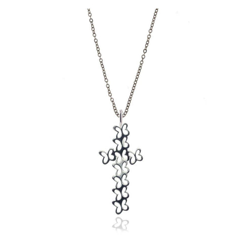 Silver Butterflies Cross Pendant